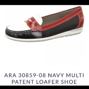 Ara multi patent leather loafers. White/red/black